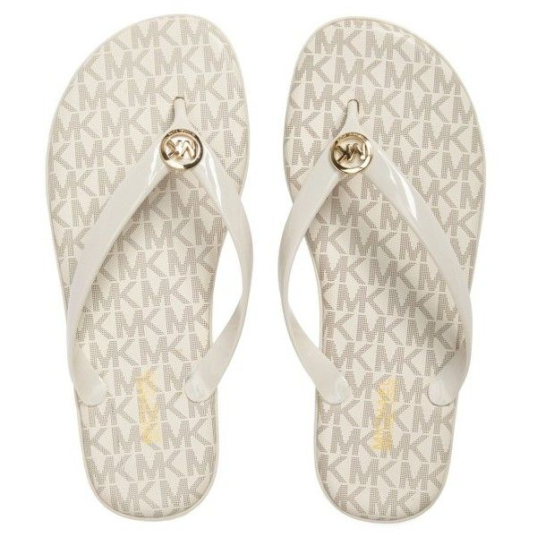 Women's Michael Michael Kors 'Jet Set' Jelly Flip Flop (65 CAD) ❤ liked on Polyvore featuring shoes, sandals, flip flops, vanilla, jelly shoes, michael michael kors shoes, strappy sandals, michael michael kors sandals and jelly flip flops