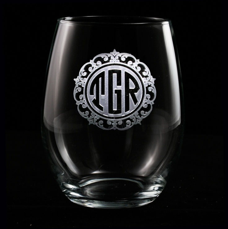 Beautiful Monogrammed Engraved Stemless Wine Glass