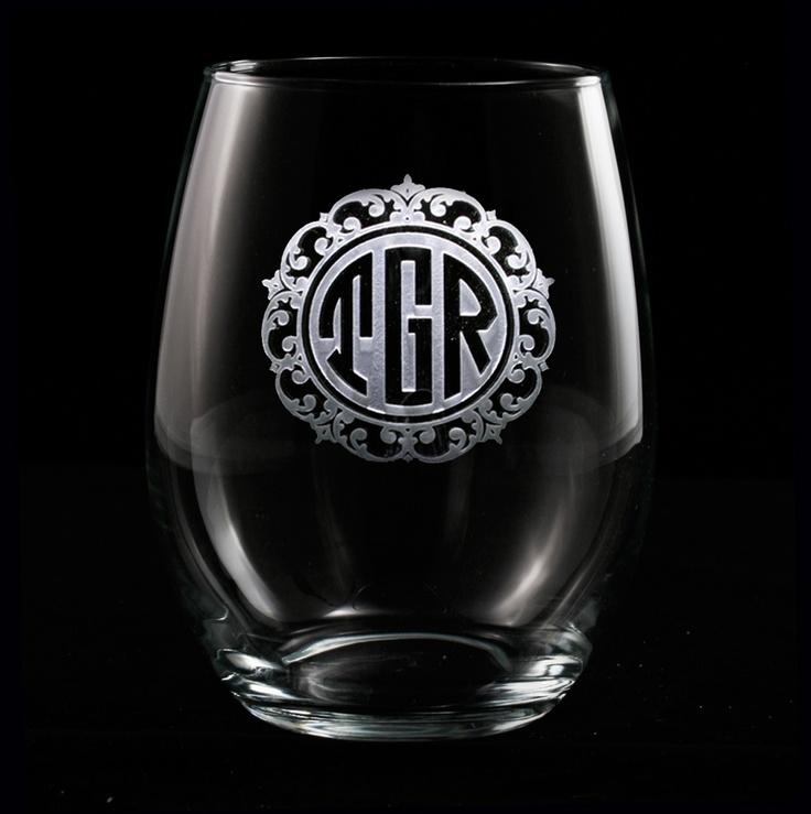 Elegant Monogrammed Engraved Stemless Wine Glass