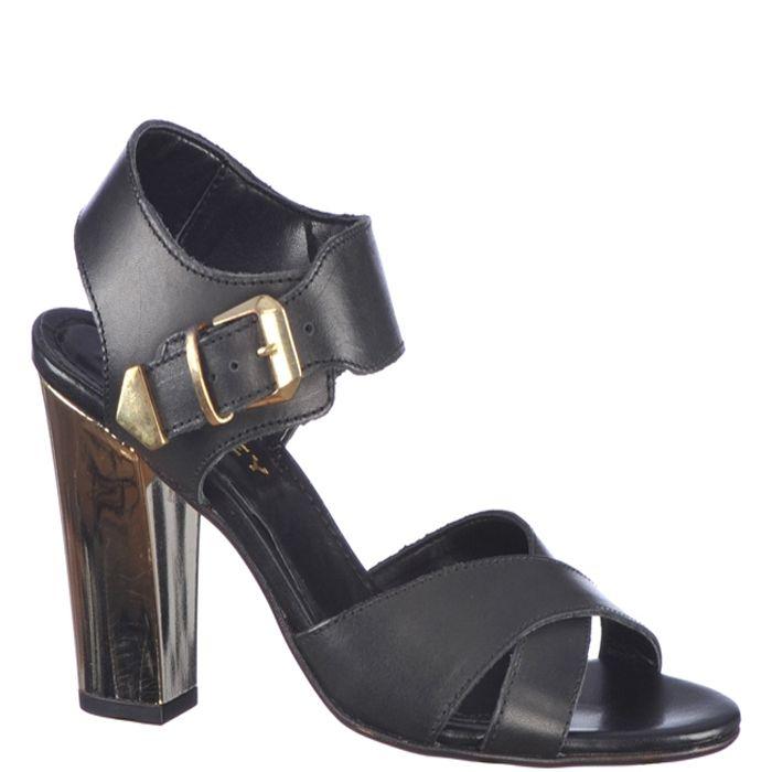 Sandale de dama, marca Thurley culoare negru metalic. Cu un toc inalt de 10,3 cm sunt foarte flexibile si comode. Realizate din piele naturala atat in exterior cat si in interior, cu talpa sintetica usoara,recomandate pentru tinute elegante.