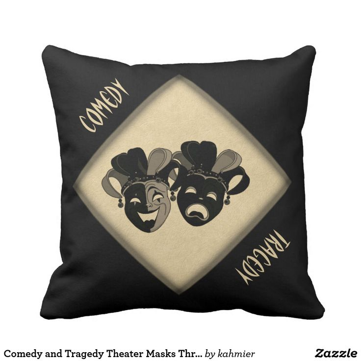 This is a cool pillow with a solid black side. The masks look like they are on stage. Plus nearly half off now. Comedy and Tragedy Theater Masks Throw Pillow