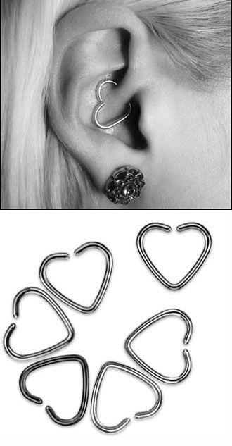 piercing Coeur oreille Rook Daith Tragus Conque : Piercing bijoux vente en ligne