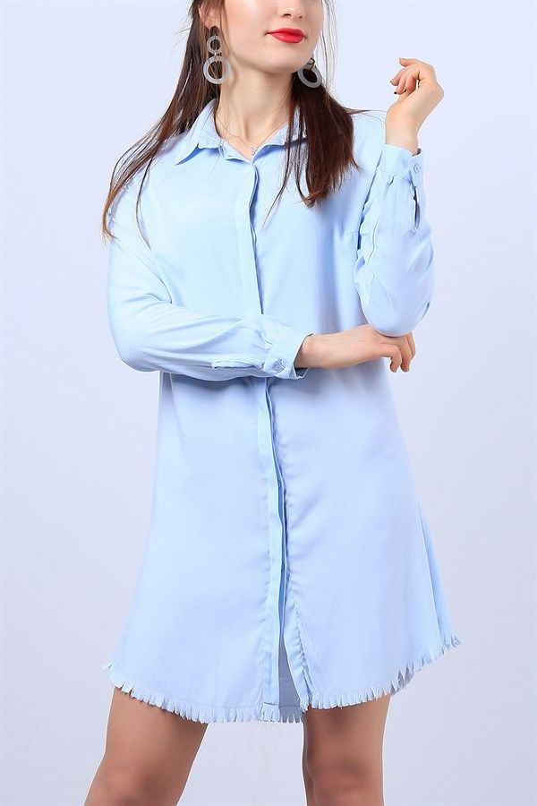 25 95 Tl Mavi Etegi Puskullu Bayan Gomlek Elbise 11286b Modamizbir Gomlek Elbise Elbise Moda Stilleri