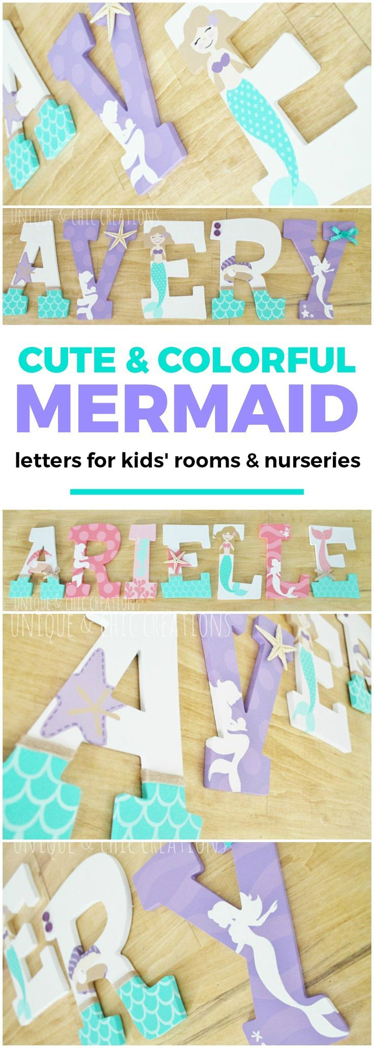 Lavender Purple and Aqua Mermaid Themed Personalized Wooden Letters for Nursery | Unique and Chic Creations Etsy custom home decor for kids rooms and nurseries | baby girl | baby girl's room | little girl's room ideas | baby shower gift idea | cute kids room