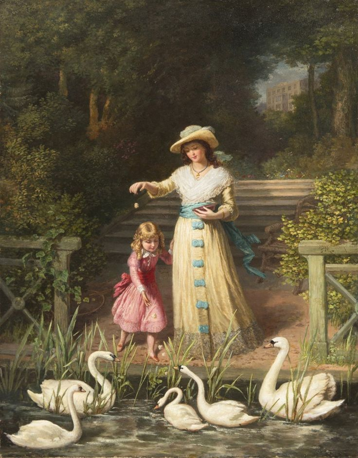Feedng the Swans (1887) by Philip Richard Morris