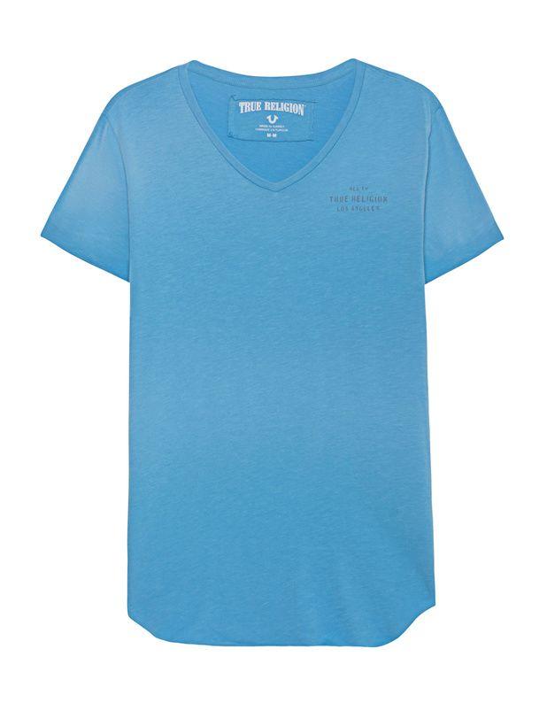 Baumwoll-T-Shirt mit Print Schmal geschnittenes hellblau verwaschenes T-Shirt aus weicher Baumwolle mit V-Ausschnitt, grauem Label-Print auf der Brust, aufgerolltem sowie offenem Saum, seitlichen Schlitzen und großem Label-Print auf dem Rücken.  True Religion sorgt für eine ordentliche Portion Lässigkeit!