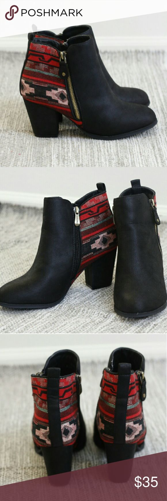 Aztec boots I'm so sad to sell these but they are a little snug for me. So cute. Worn once to see of I could bare them. Excellent condition. Fit closer to an 8.5 Free People for exposure Free People Shoes Heeled Boots