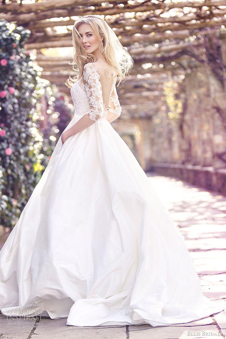 ellis bridals 2016 3 quarter sleeves sweetheart illusion jewel corset ball gown wedding dress (18023) mv sheer back buttons romantic princess