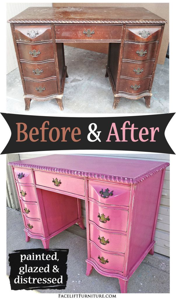 Curvy Antique Desk In Distressed Hot Pink Before After Desks Vanities Pinterest Furniture And