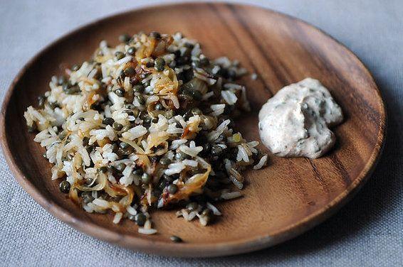 mujaddara with spiced yoghurtFun Recipe, Spices Yogurt, Rice Dishes, Lentils Recipe, Mujaddara, Food Recipe, Greek Yogurt, New Years, Yogurt Recipe