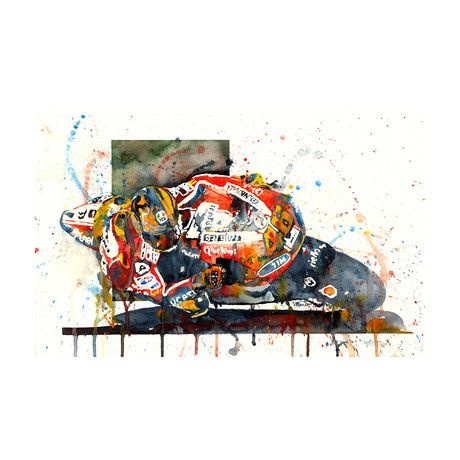 "Valentino Rossi MotoGP Ducati 20II By Moh'd Bilbeisi This 13"" x 19"" watercolor print depicts the Italian racing legend, Valentina Rossi, racing the formidable Ducati in MotoGP. This print is an accurate reproduction of the original painting by the artist Bilbeisi. It's giclée printed using archival ink on 51lb Ultra Premium Presentation paper."