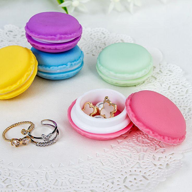 Draagbare Snoep Kleur Mini Leuke Macarons Draagtas Organisator Opbergdoos Voor Sieraden Ring Ketting