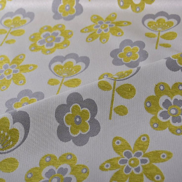 Retro Flower Upholstery Fabric Lime 140cm