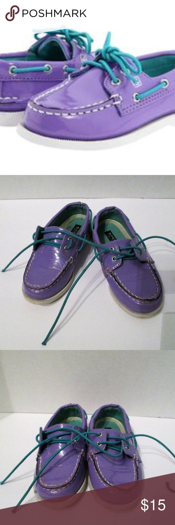 Sperry Top-Sider Purple Patent Leather Sz 10M Pre-Loved Sperry Top-Sider purple patent leather size 10M. Some scuff marks on front of shoe. Please see photos. Sperry Shoes