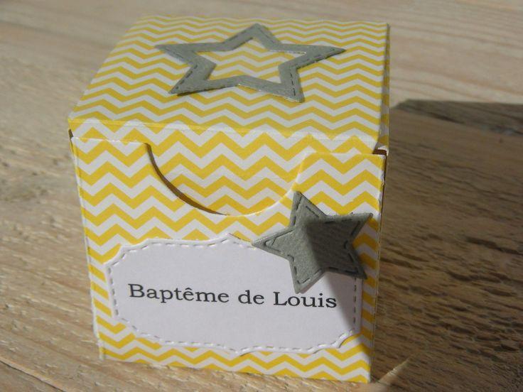 Boîte à dragées forme cube - thème étoile et papier chevron jaune- baptême , mariage , anniversaire : Cadeau de remerciement par paper-party