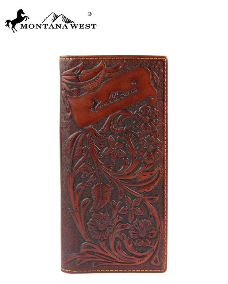 Montana West Genuine Tooled Leather Men's Checkbook Wallet Bi-Fold Coffee Wester #MontanaWest #Bifold