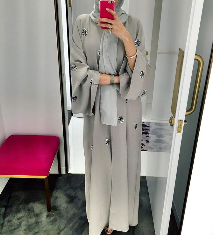 Pinterest: @eighthhorcruxx. Grey abaya