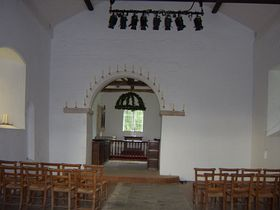 Alton Priors - Inside All Saints church - note blocked up windows which aren't present on the exterior © DM