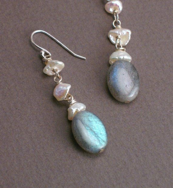 Victoria  Labradorite and Pearl Earrings with Baroque by trillium, $32.00