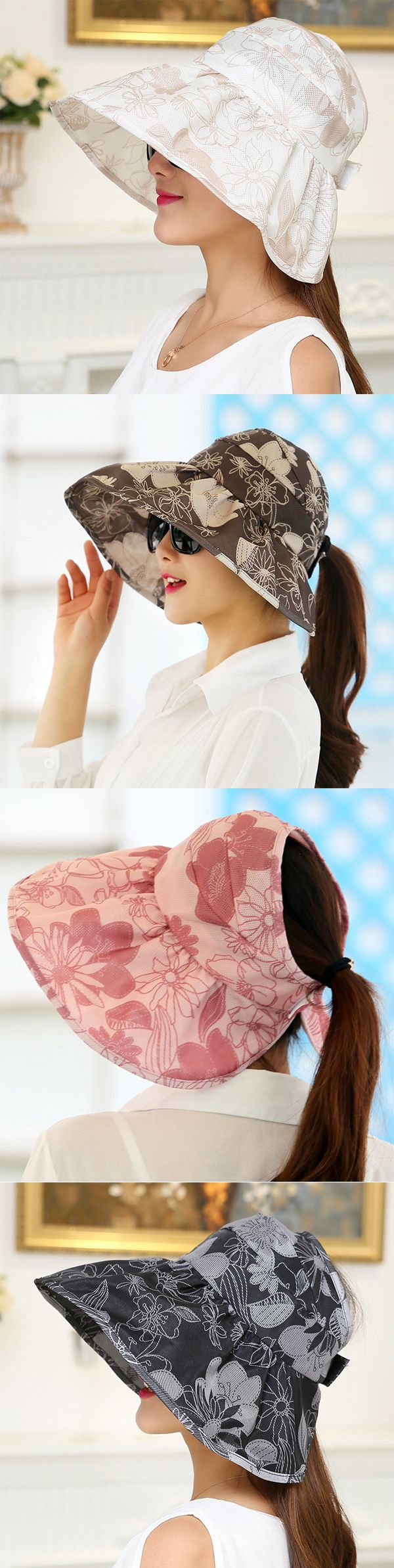 Women Vintage Foldable Outdoor Gardening Anti-UV Beach Sunscreen Sun Hat Flower Print Cap
