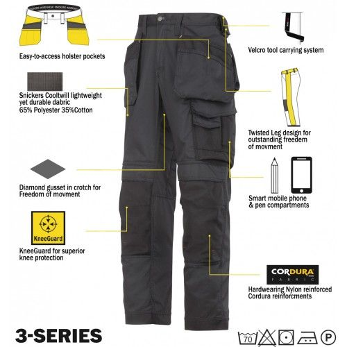 Snickers Trousers 3211 CoolTwill Holster Trousers, 3211 Snickers Trousers   Size 096 Grey