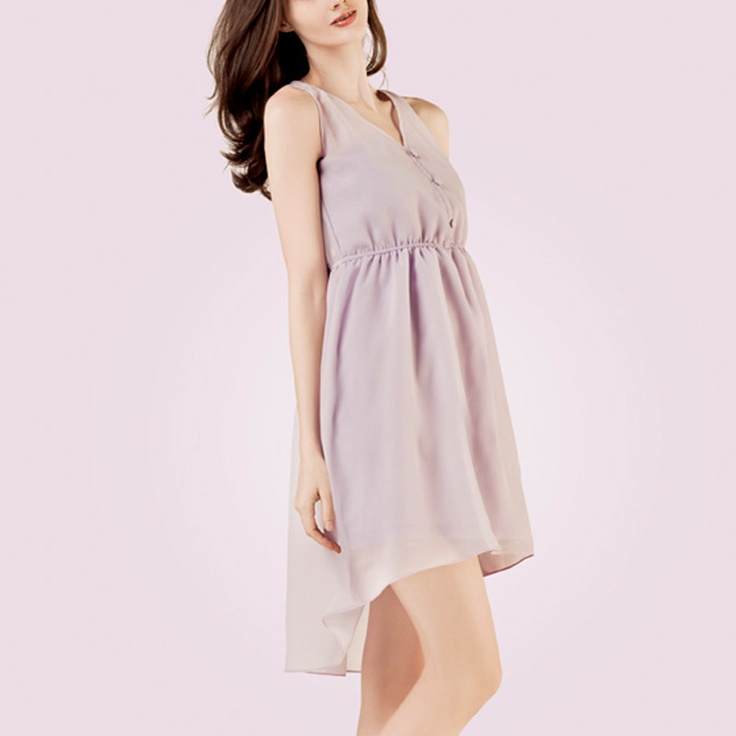 POPLIN Asymmetrical Dress with Open Back Purple