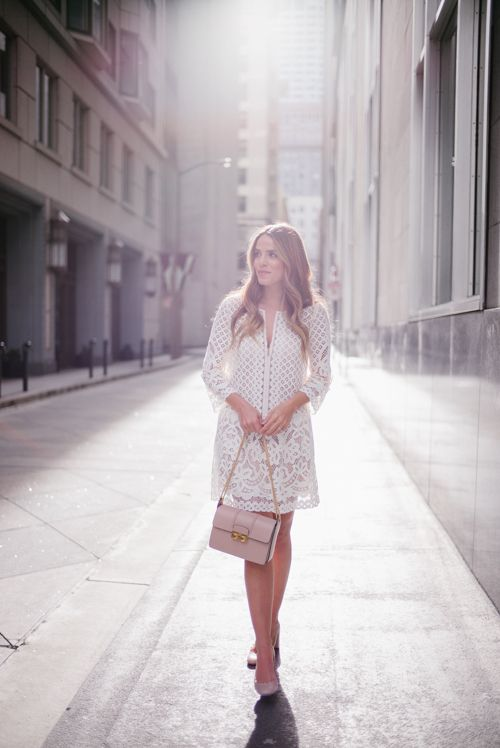 Blush & Lace - BCBG Dress, Chloe Pumps, and Lanvin Bag