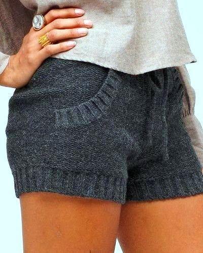 Cozy Gray Sweater Shorts
