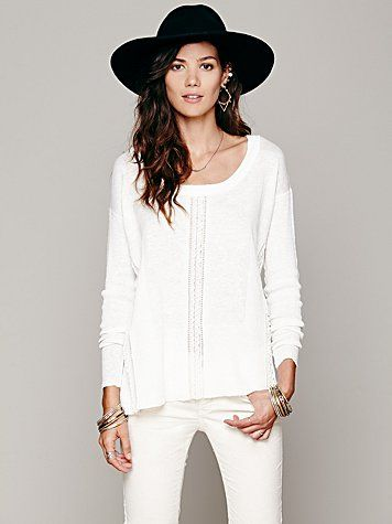 Free People Lace Road Boxy Pullover