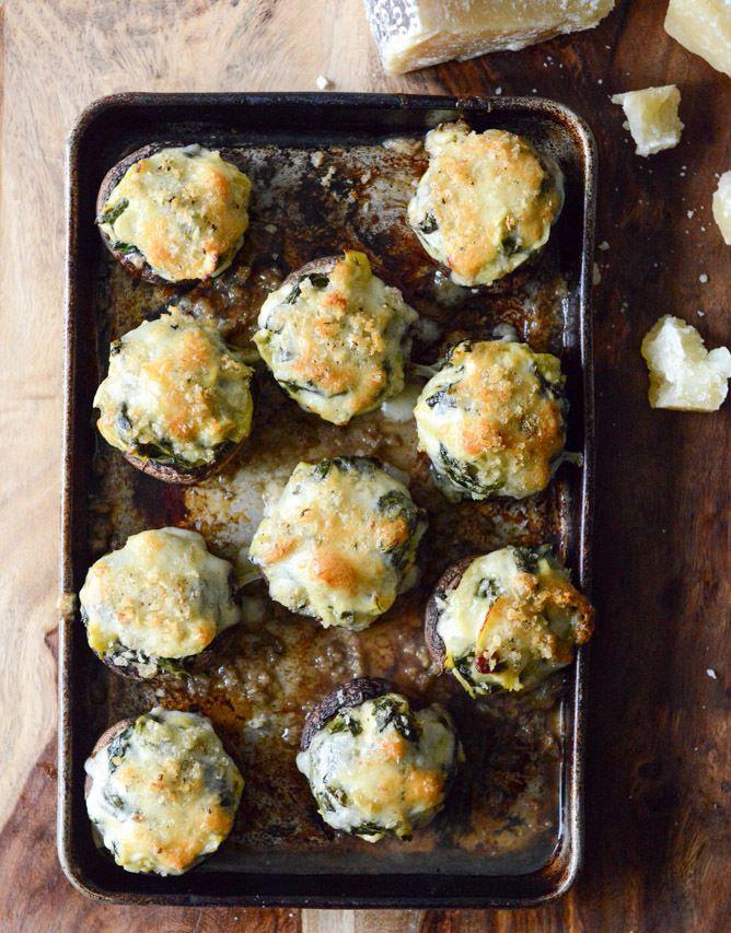 Spinach, Bacon And Artichoke Stuffed Portobellos make a tasty gameday snack