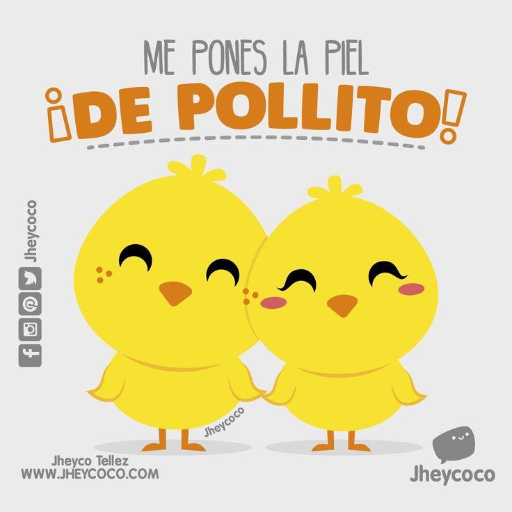 y a ti quién te pone la piel de pollito? #jheycoco #humor #cute #ilustracion #kawai #tierno #kawaii #amor #literal #literalidad #frases #music #musica #chanchito #pig #marranito #sticker #calcomanias #mug #regalo #kit #postal #sticker #venta #pocillo #regalo #chocolate #flores #simplycooldesign #pollito #pollo #chicken