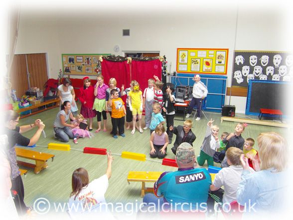 Mill Dam Junior, Infant & Nursery School half  term camp children during their Circus Schools Show for parents.   MagicalCircus.co.uk