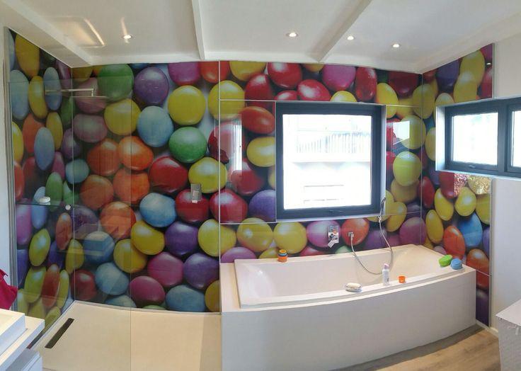 Glass smartie wall for kids bathroom