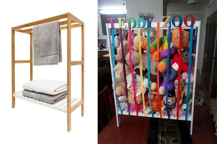 Clever Kmart Hacks Towel Rack Into Toy Storage Kmart Hacks Toy Storage Kid Toy Storage