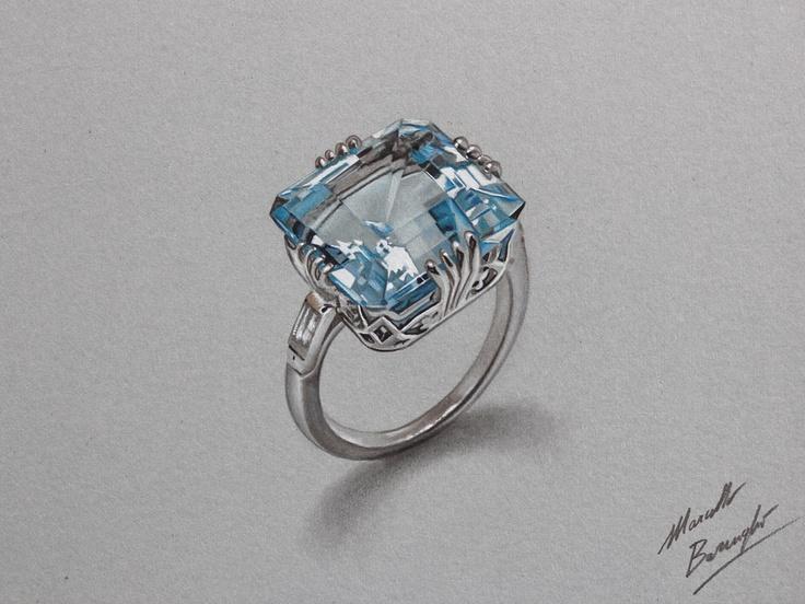 Watch on YouTube how I draw this aquamarine ring http://youtu.be/VpWcBq6bFaU