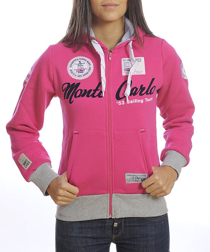Fuchsia & Grey Zipped Hooded Top | Womens by Geographical Norway #zulily #zulilyfinds