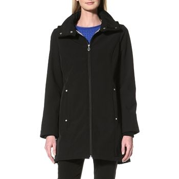 Calvin Klein Women's Black Hooded Softshell Coat. SHOP IT NOW