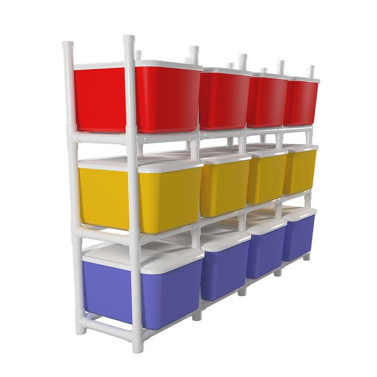 Build a PVC Storage Bin Organizer Rack!    Organize holiday decorations, clothing and other items, with easy, slotted access to each bin, without having to resort to restocking and reorganizing.