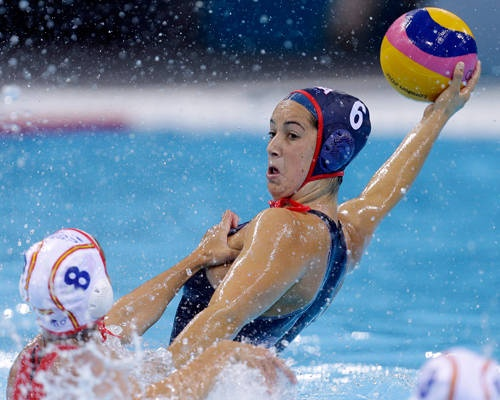 The youngest player on the women's national team, Maggie Steffens scored a goal as the United States defeated Italy 9-6 in the water polo quarterfinals.