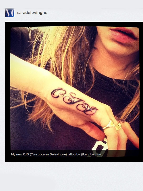 "Cara Delevingne ""CJD"" Tattoo"