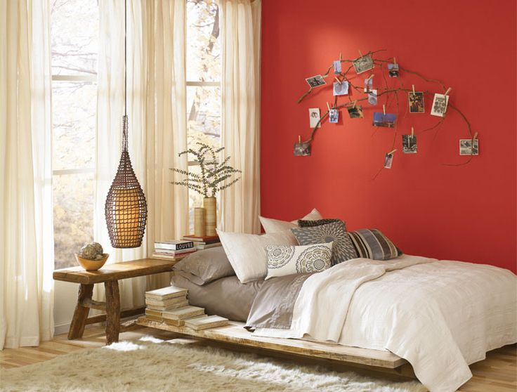 A Very U0027zenu0027 Organic Bedroom Accented With A Pop Of Cayenne, One Of