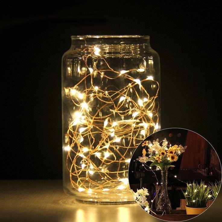 Kohree 2 Stück 60 LED-Lichterkette warm-weiß Draht Batterie-betrieben 20ft/6M Party String Lights