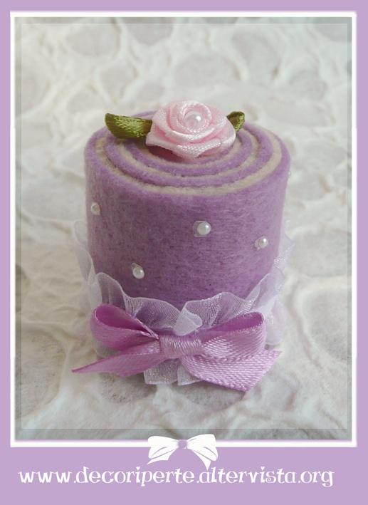 Lilac rose FELT mini wedding cake