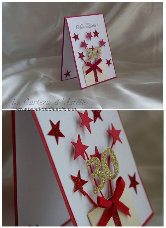 carte anniversaire 30 ans rouge et blanc
