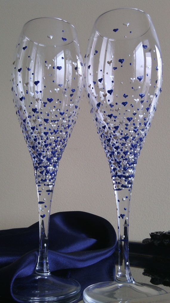 Set of 2 hand painted white wine/ champagne glasses Valentine's day in pearly…