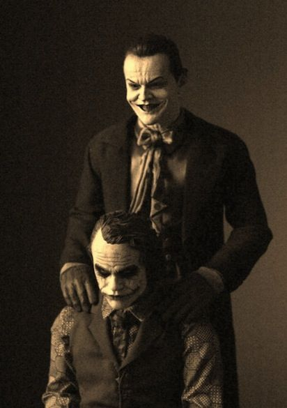 How Creepy Is This Image of Heath Ledger and Jack Nicholson's Jokers Together?
