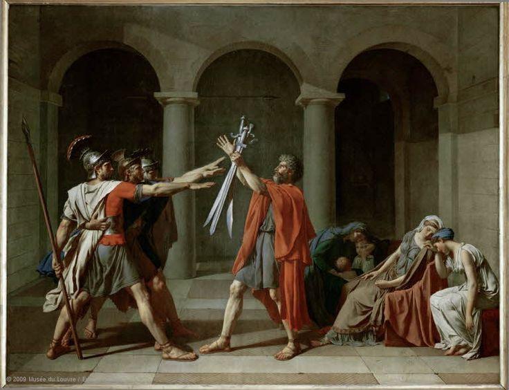Jacques-Louis DAVID (Paris, 1748 - Brussels, 1825)  The Oath of the Horatii  1784  H. 3.30 m; W. 4.25 m  Collection of Louis XVI  | Louvre Museum | Paris