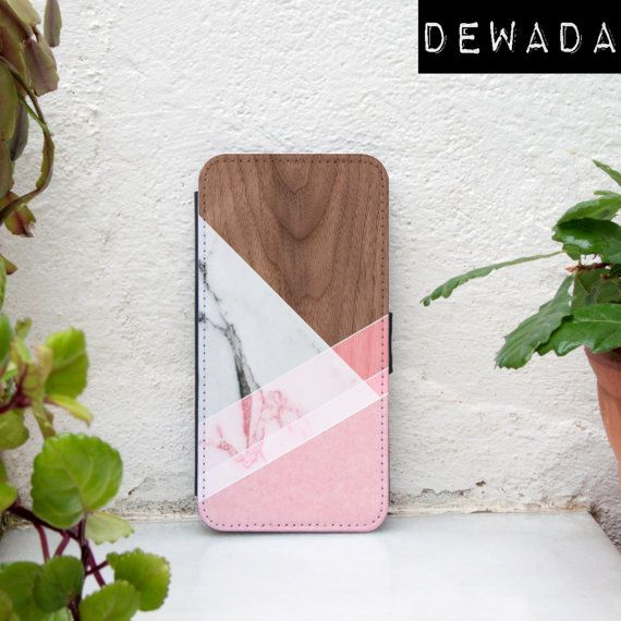 samsung galaxy s6 edge wallet case geometric desgin pink wood print marble by DeWadaSTORE