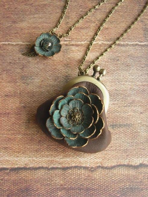 mini coin purse necklace  kujaku by kikosattic on Etsy, $46.00