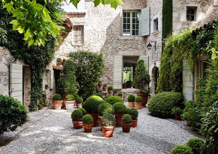 The courtyard at the Catroux's house in Provence. Photograph by François Halard